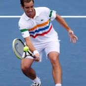 Richard Gasquet is in fine touch this year, making the fourth round in every major. But the Frenchman, pictured here attempting a drop-shot, stumbled against well-drilled fifth seed David Ferrer, who also beat Gasquet in the fourth round of the Australian Open in January. Gasquet only has one win against Ferrer from eight meetings since first playing at Stuttgart in 2004.