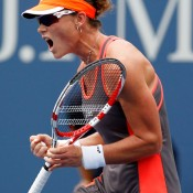 Sam Stosur puts herself on the line during her quarterfinal loss to number one seed Victoria Azarenka. While the Australian couldn't defend her 2011 title, her three-set loss to Azarenka was praised as an end to a nerve-riddled 2012. Stosur has never beaten Azarenka, having now played seven matches against her.