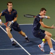 Andy and Jamie Murray of Great Britain wind up on the same side of the court in their doubles quarterfinal against Radek Stepanek and Leander Paes at the Rakuten Japan Open in Tokyo; Getty Images