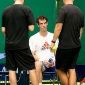 Andy Murray talks to Andy Ireland and Jez Green after his practice during the Shanghai Rolex Masters; Getty Images