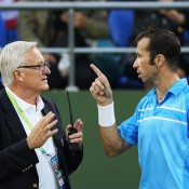 Radek Stepanek argues with the referee during his three-set third round win against John Isner at the Shanghai Rolex Masters; Getty Images