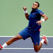 Jo-Wilfried Tsonga celebrates his win over Marcos Baghdatis in the third round of the Shanghai Rolex Masters at the Qi Zhong Tennis Center in Shanghai, China; Getty Images