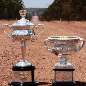 The Australian Open trophies at Gove Peninsula in the Northern Territory; Tennis Australia