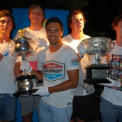 (L-R) Geelong Football Club players George Burbury, Nathan Vardy, Allen Christensen, Josh Walker and Jed Bews pose with the Australian Open trophies; Tennis Australia