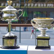 The Australian Open trophies on display at Nanjing Sport Institute in Nanjing, China, the site of the inaugural Asia-Pacific Australian Open Wildcard play-off; Getty Images