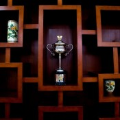 The Daphne Akhurst Memorial Cup is displayed at the site of an official government dinner at Zhangzhou, China; Mark Riedy