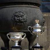 The Daphne Akhurst Memorial Cup (women's trophy) and the Norman Brookes Challenge Cup (men's trophy) are pictured during the Australian Open Trophy Tour at Nanjing Sport Institute in Nanjing, China; Getty Images