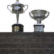 The Australian Open trophies on display at the Nanjing Sport Institute on October 15, 2012 in Nanjing, China; Getty Images