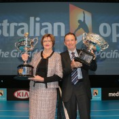 Former tennis players Margaret Court and Ashley Cooper pose with the Norman Brookes Challenge Cup and the Daphne Akhurst Trophy during the 2013 Australian Open launch at Melbourne Park on October 2, 2012 in Melbourne, Australia; Getty Images