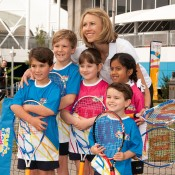 Alicia Molik poses with children at the Australian Open 2013 Launch at Melbourne Park; Tennis Australia