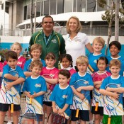 Ian Goolagong and Alicia Molik with participants in an MLC Tennis Hot Shots demonstration at Melbourne Park as part of the Australian Open 2013 Launch; Tennis Australia