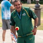 National Indigenous Coach and MLC Tennis Hot Shots coach Ian Goolagong at a Hot Shots demonstration event at Melbourne Park as part of the Australian Open 2013 Launch; Tennis Australia