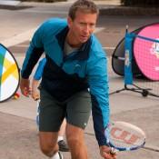 Former player Wayne Arthurs takes part in a MLC Tennis Hot Shots demonstration as part of the Australian Open 2013 Launch at Melbourne Park; Tennis Australia