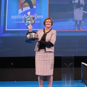 Former tennis player Margaret Court carries the Daphne Akhurst Trophy during the 2013 Australian Open launch at Melbourne Park on October 2, 2012 in Melbourne, Australia; Getty Images