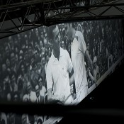 On-screen images of Rod Laver and Roger Federer as part of the Vote 4 The Goat campaign at the Australian Open 2013 Launch; Tennis Australia