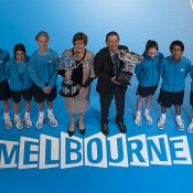 Margaret Court and Ashley Cooper pose with the Australian Open trophies as part of the Australian Open 2013 Launch at Melbourne Park; Tennis Australia