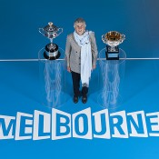 Soon-to-be Australian Tennis Hall of Fame inductee Judy Dalton poses with the Australian Open trophies as part of the Australian Open 2013 Launch at Melbourne Park; Tennis Australia