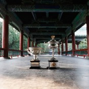 The Daphne Akhurst Memorial Cup (R) and the Norman Brookes Challenge Cup are pictured during the Australian Open Trophy Tour at The Temple of Heaven on October 19, 2012 in Beijing, China; Getty Images