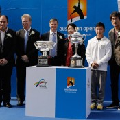 (L-R) Tennis Australia's Asia-Pacific business development manager Dean Brostek, Tennis Australia chief operating officer David Roberts, Tennis Australia president Stephen Healy, Vice Chairman of University Council Sulan Yu, Chinese gymnastics champion Chen Yibing and CCTV sports channel presenter and tennis commentator Zhang Shen pose for photographers during the Australian Open Trophy Tour at Peking University on October 20, 2012 in Beijing, China; Getty Images