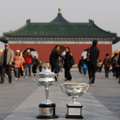 The Daphne Akhurst Memorial Cup (L) and the Norman Brookes Challenge Cup are pictured during the Australian Open Trophy Tour at The Temple of Heaven on October 19, 2012 in Beijing, China; Getty Images