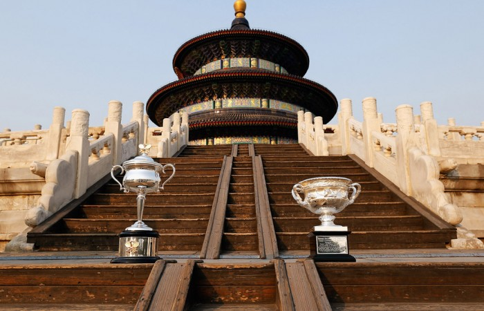 The Daphne Akhurst Memorial Cup (L) and the Norman Brookes Challenge Cup are pictured during the Australian Open Trophy Tour outside The Temple of Heaven (The Qi Nian Temple) on October 19, 2012 in Beijing, China; Getty Images
