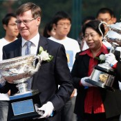 (L-R) Tennis Australia president Stephen Healy and Vice Chairman of University Council Sulan Yu hold the Norman Brookes Challenge Cup and Daphne Akhurst Memorial Cup respectively during the Australian Open Trophies Tour at Peking University on October 20, 2012 in Beijing, China; Getty Images