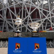 The Daphne Akhurst Memorial Cup (L) and the Norman Brookes Challenge Cup are pictured during the Australian Open Trophy Tour outside the Bird's Nest on October 19, 2012 in Beijing, China; Getty Images