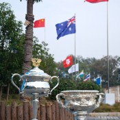 The Daphne Akhurst Memorial Cup (L) and the Norman Brookes Challenge Cup snapped next to the Chinese and Australian national flags during the Asia-Pacific Australian Open Wildcard Play-off at Nanjing Sport Institute on October 21, 2012 in Nanjing, China; Getty Images
