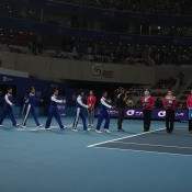 The Australian Open trophies are unveiled in an on-court ceremony at the China Open in Beijing; Osports Photo Agency