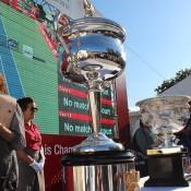 The Australian Open trophies on display at the ATP Rakuten Japan Open Tennis Championships in Tokyo; Tennis Australia