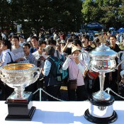 The Australian Open trophies on display in front of a big crowd at the ATP Rakuten Japan Open Tennis Championships in Tokyo; Tennis Australia