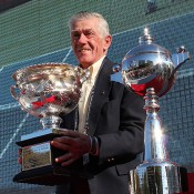 Aussie tennis legend Ken Rosewall poses with the Norman Brookes Challenge Cup as the AO Trophy Tour visits Tokyo, Japan; Tennis Australia