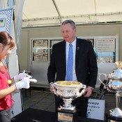 Tennis Australia CEO Steve Wood poses with the Australian Open trophies as the AO Trophy Tour visits Tokyo, Japan; Tennis Australia