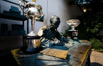 The Norman Brookes Challenge Cup and Daphne Akhurst Memorial Trophy at Huang Lane, Fuzhou, China during the Australian Open Trophy Tour; Mark Riedy