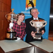 Australian tennis legend Ken Rosewall and wife Wilma pose with the Australian Open trophies as the AO Trophy Tour hits Tokyo, Japan; Tennis Australia