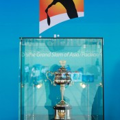 The Daphne Akhurst Memorial Cup on display at the China Open in Beijing as part of the Australian Open trophy tour's visit to China; Osports Photo Agency