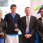 (L-R) Gallipoli Youth Cup defending champions Ellen Perez and Harry Bourchier, Tennis Australia Director of Tennis Craig Tiley and GYC Tournament Founder Umit Oraloglu at the launch of the 2013 event; Tennis Australia