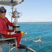 The Daphne Akhurst Memorial Cup is held by a scuba diver as part of the Australian Open Trophy Tour on the Agincourt Reef on the outer edge of the Great Barrier Reef in Queensland; Tennis Australia