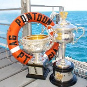 The Australian Open trophies on a pontoon at the Agincourt ribbon reef on the outer edge of the Great Barrier Reef, off the coast of Port Douglas, Queensland; Tennis Australia