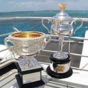 The Norman Brookes Challenge Cup (L) and the Daphne Akhurst Memorial Cup aboard the Quicksilver high-speed wave-piercing catamaran for their tour of the Agincourt Reef on the outer edge of the Great Barrier Reef; Tennis Australia
