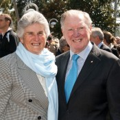 Judy Dalton (L), pictured with 1996 Australian Tennis Hall of Fame inductee Frank Sedgman; Tennis Australia
