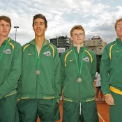 Australia's Junior Davis Cup team of (L-R) Harry Bouchier, Thanasi Kokkinakis, Blake Mott and captain Mark Woodforde at the medal ceremony following their loss to Italy in the final in Barcelona; photo Srdjan Stevanovic