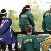 Australia's Junior Davis and Fed Cup team members keep an eye on the action at the world finals in Barcelona; photo Srdjan Stevanovic