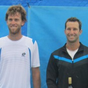 Margaret River Pro Tour men's finalists (L-R) Michael Venus of New Zealand and Adam Feeney of Australia; Tennis Australia