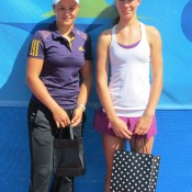Esperance Pro Tour women's singles runner-up Ashleigh Barty (L) with champion Olivia Rogowska; Tennis Australia