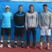 (L-R) Esperance Pro Tour men's doubles finalists Zach Itzstein and Adam Feeney with champions Benjamin Mitchell and Alex Bolt; Tennis Australia