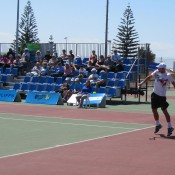 Eventual champion Adam Feeney in action at the Esperance Pro Tour event; Tennis Australia