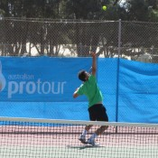 Alex Bolt serves at the Esperance Pro Tour event; Tennis Australia
