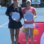 Runner-up Pamela Boyanov (L) and champion Kimberly Birrell with their trophies at the ITF Sydney Junior International; Tennis Australia