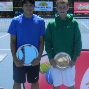 Champion Akira Santillan (L) and runner-up Oliver Anderson at the boys' trophy presentation of the 2012 Sydney ITF Junior International; Tennis Australia